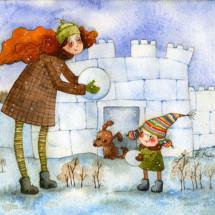 Детская игра — «Взятие снежной крепости»