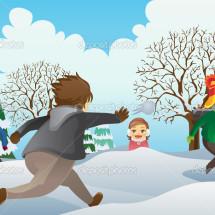 Детская игра — «Салки снежками»